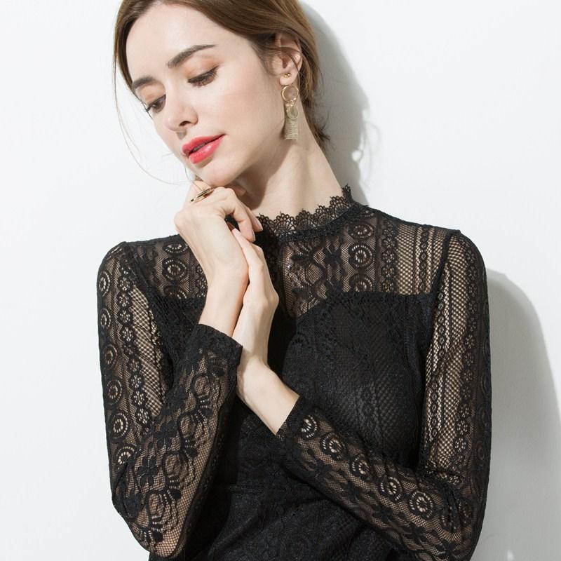 蕾丝打底衫女长袖网纱上衣半高领内搭镂空立领小衫2019秋装新款