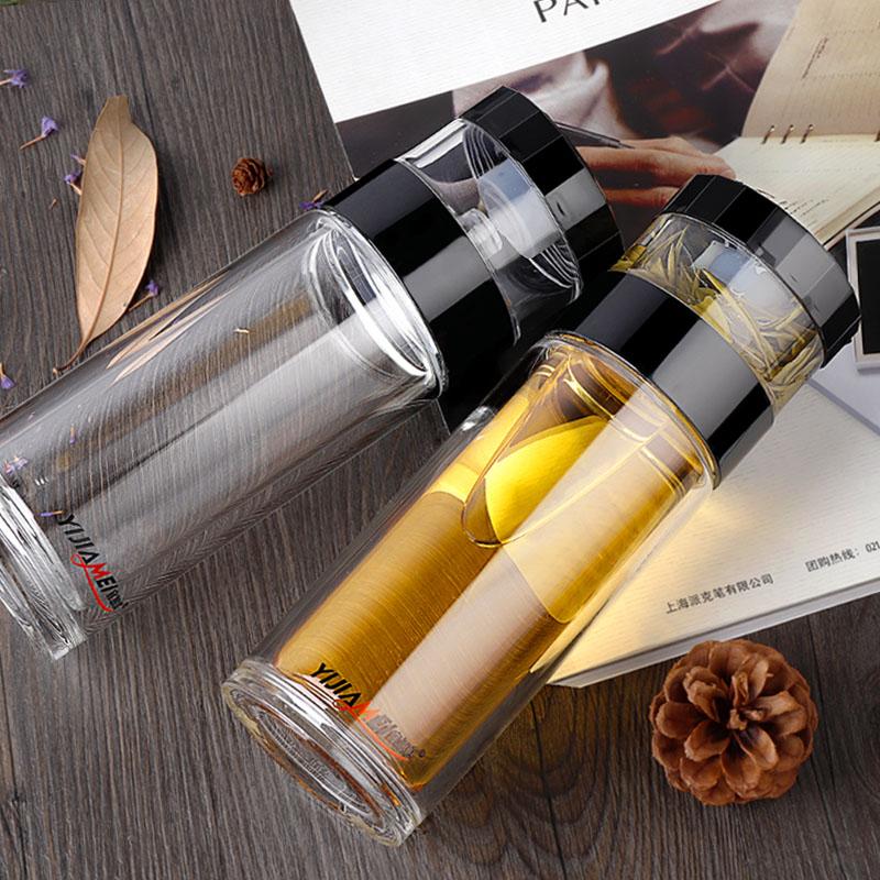 宜加美双层玻璃杯旅行杯茶水分离泡茶杯过滤带盖便携大容量水杯子