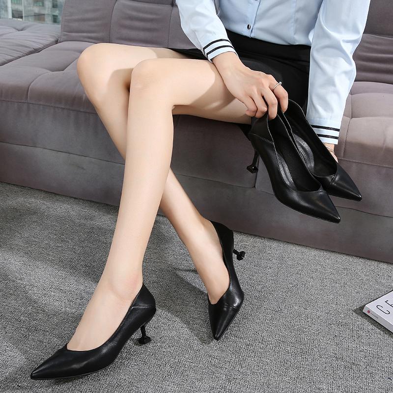 黑色正装高跟鞋职业空姐工作鞋女 2020 空乘软皮鞋细跟真皮低跟单鞋
