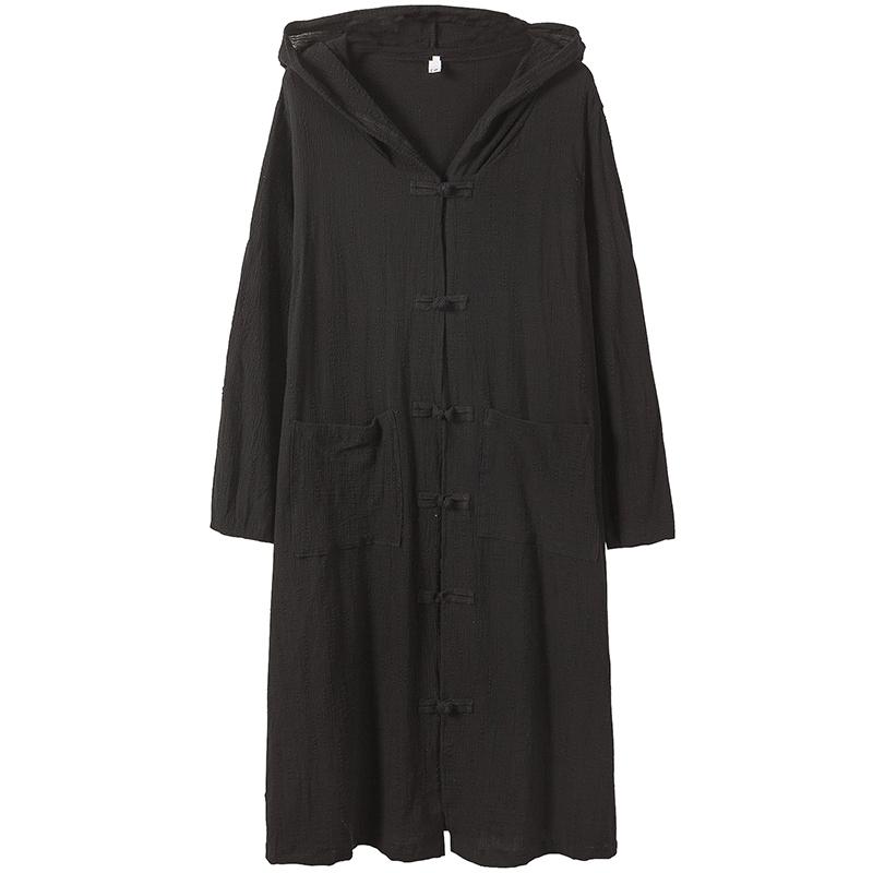 秋季薄款连帽中长款过膝风衣男士中国风披风斗篷超长外套大码男装