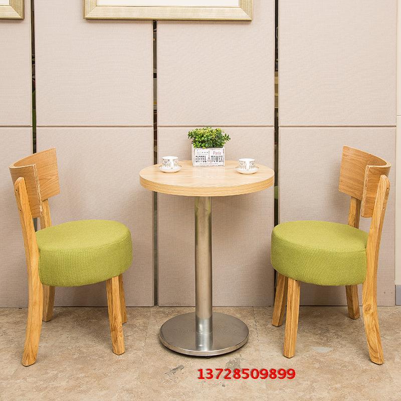 简约现代甜品奶茶店实木桌椅沙发卡座组合茶西餐厅咖啡馆圆桌方桌