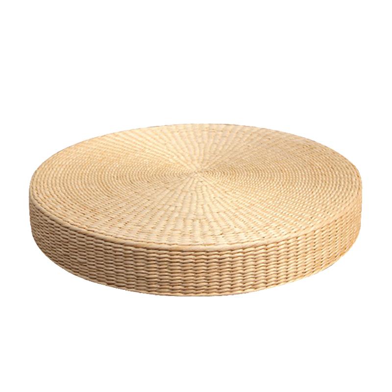 茶道草编榻榻米垫打坐拜佛垫加厚禅修垫地上坐垫藤编蒲垫蒲草蒲团
