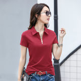 Summer short-sleeved polo-neck T-shirt female sports and leisure breathable cotton shirt Slim small shirt lapel solid color fashion