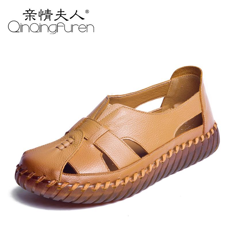 2018新款妈妈凉鞋女夏季平底中老年人复古镂空洞洞鞋真皮软底防滑