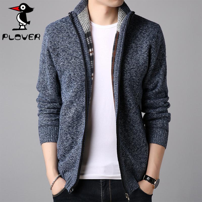 啄木鸟男士商务针织开衫休闲潮牌外套立领纯色毛线衣