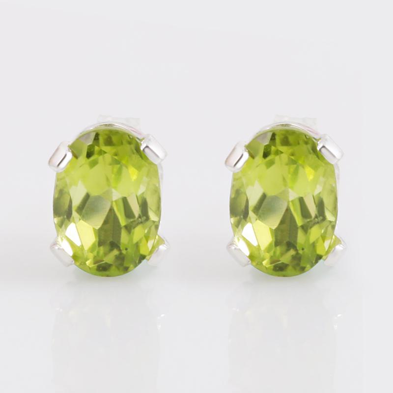 2.45克拉绿橄榄石耳钉项链套装925银彩宝石经典女款两件首饰套装