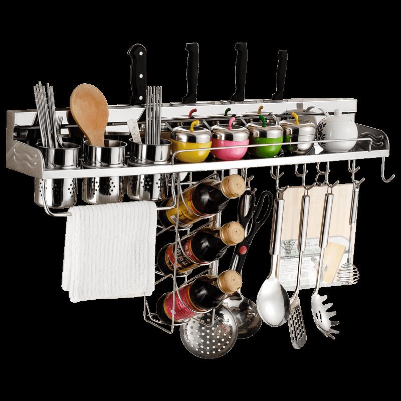 免打孔304不锈钢厨房置物架壁挂式墙上省空间调味品菜刀具收纳架