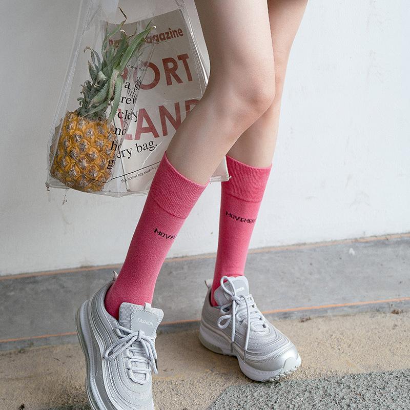 黑色中筒袜子女春秋季ins潮网红街头韩国外穿长筒袜半高筒小腿袜
