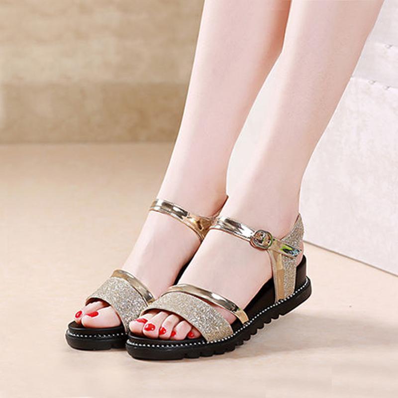 平底凉鞋女学生时尚夏季新款一字扣女鞋韩版简约坡跟平跟女士鞋子