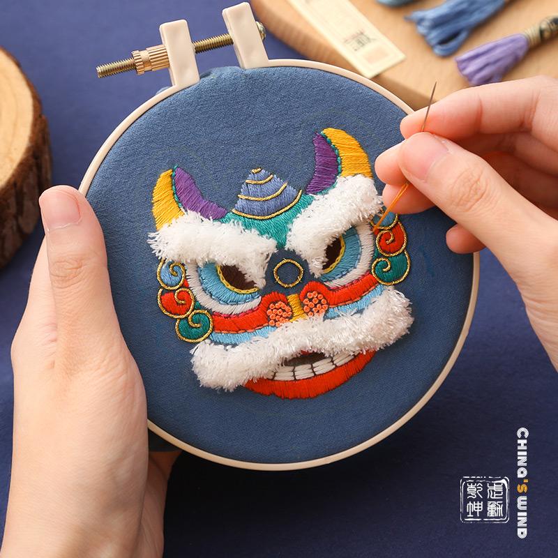 放羊班刺绣平安福diy手工醒狮材料包自绣护身符平安符挂件送男友