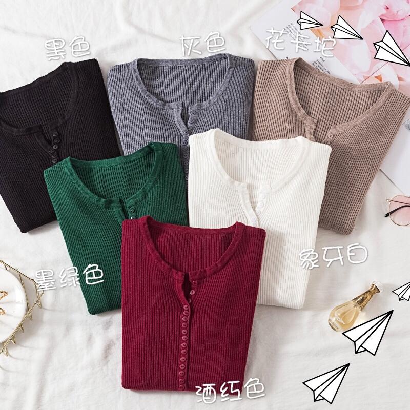 2020秋冬新款韩版圆领套头毛衣女短款修身内搭长袖打底针织衫上衣主图