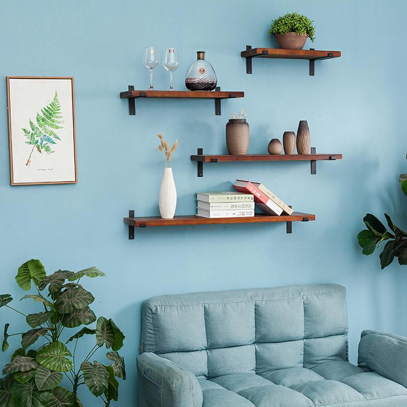 墙上置物架实木一字隔板复古壁挂客厅墙面搁物装饰书架厨房收纳架