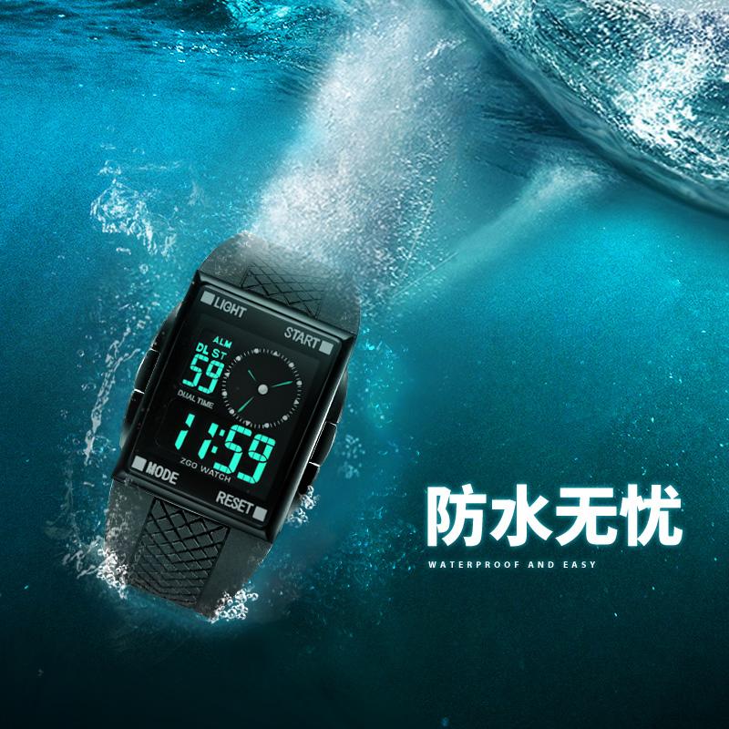 正港手表潮男中学生青少年儿童男孩韩版防水初中男男童运动电子表