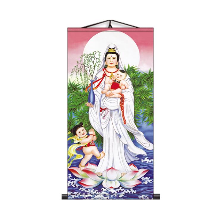 觀世音菩薩畫像佛像掛畫送子觀音圖家用供奉西方三三圣卷軸畫像圖