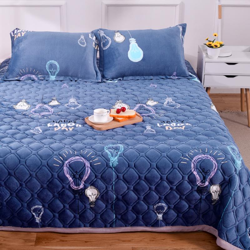 法兰绒毛毯床单单件加绒珊瑚绒面水晶绒夹棉被单双人单人学生宿舍 - 图3