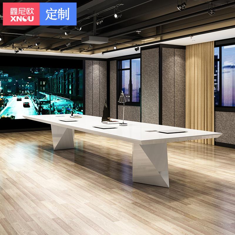 鑫尼歐異形白色烤漆會議桌簡約現代大型開會桌長桌創意時尚洽談桌