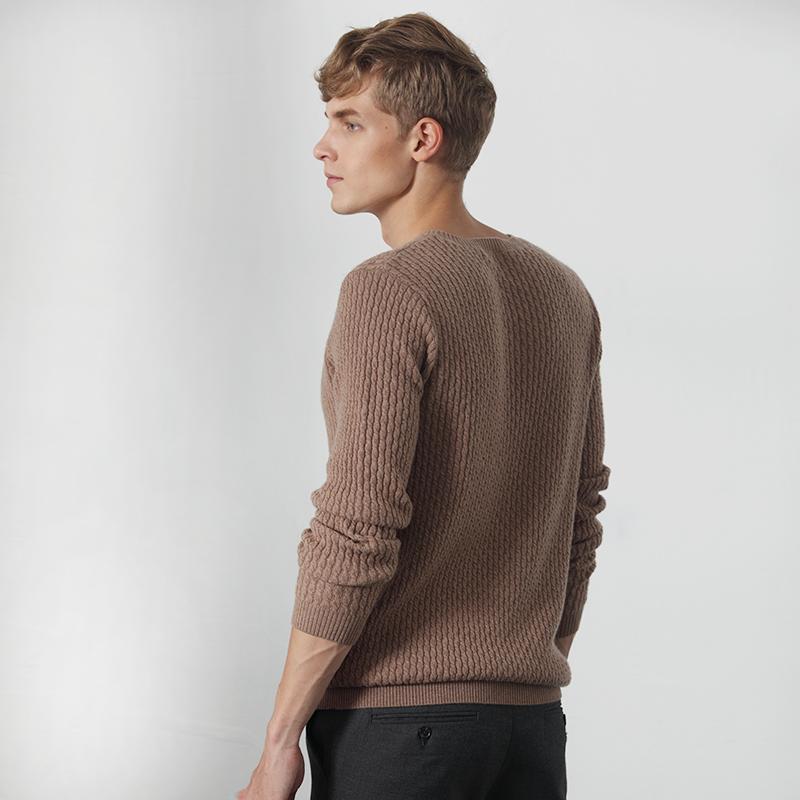 雪莲 纯山羊绒衫秋冬新款男士V领套头加厚条纹绞花纯色针织毛衣