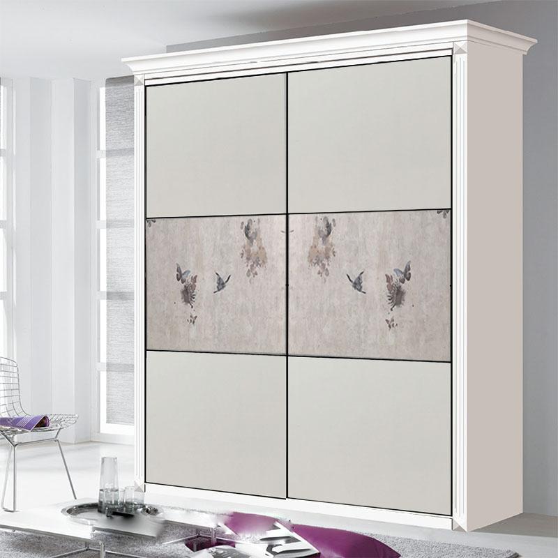 特惠耐磨板衣柜门时尚欧式移门现代简约钛镁合金壁柜门推拉门定做