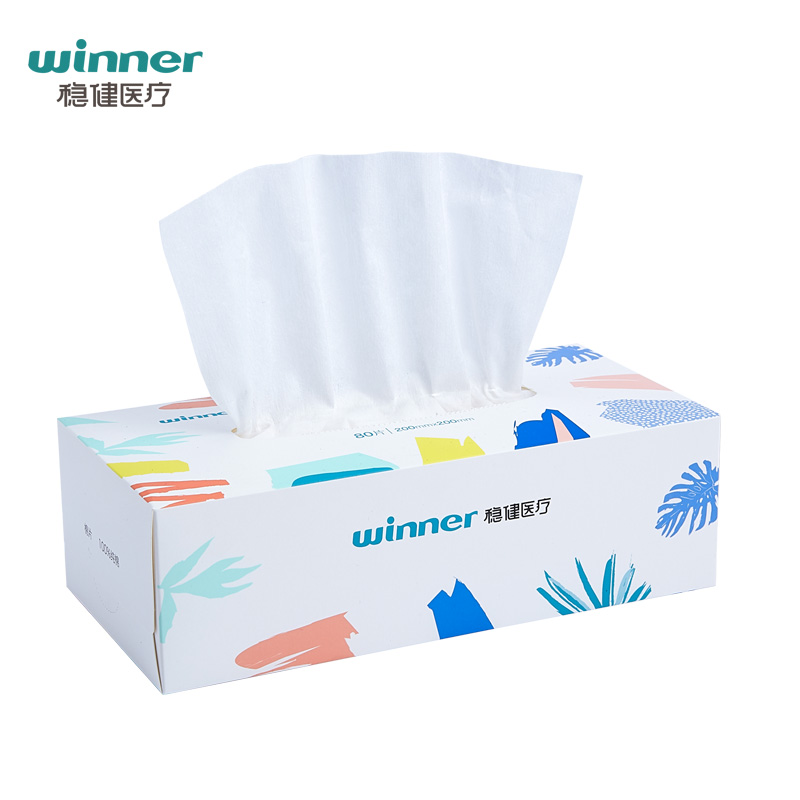 稳健棉柔巾洗脸巾皮肤清洁棉片婴儿干湿两用擦巾全棉时代80抽*6盒