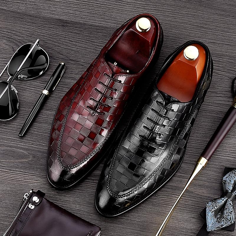 男正裝皮鞋歐版 潮味英倫尖頭商務真皮繫帶 西裝潮流大氣皮鞋男士