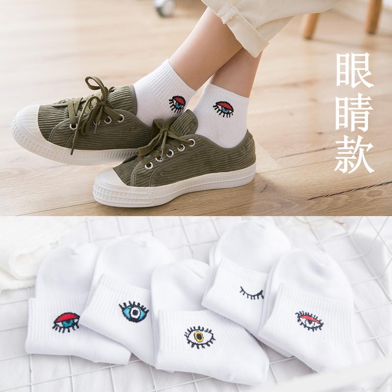5双装春夏新薄款纯棉短筒船袜 女低帮韩版浅口韩国可爱中筒袜子女