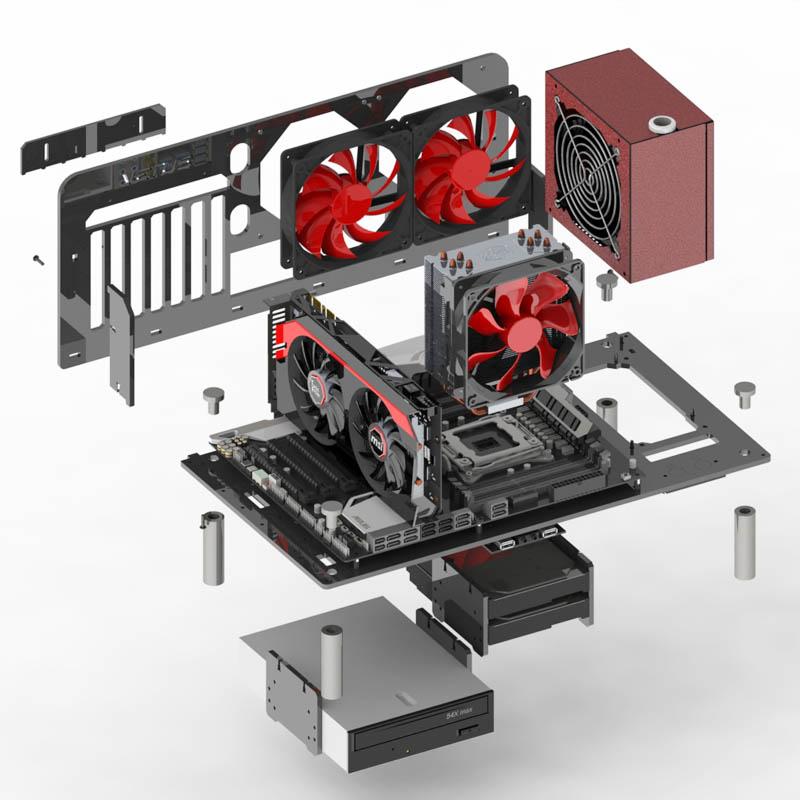 Venus个性diy亚克力卧式水冷透明机箱 开放式台式机架电脑主机箱