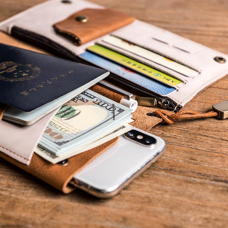 @出国旅行,复古纯牛皮超软简约刻字护照机票手机真皮钱包手拿包
