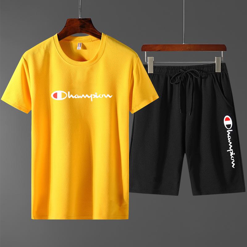 夏季男士T恤韩版潮流修身上衣男装体恤印花两件套装
