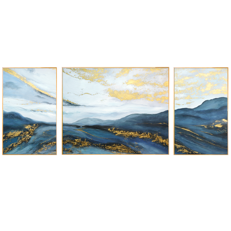 北歐輕奢客廳裝飾畫沙發背景墻掛畫大芬村抽象油畫純手繪山水壁畫