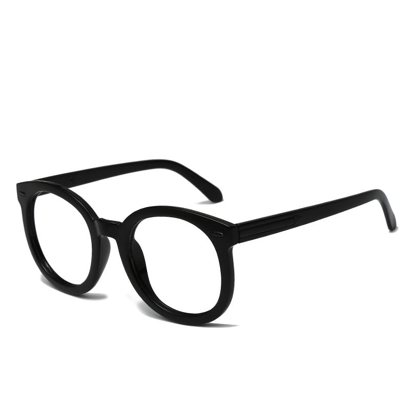 网红素颜装饰镜韩版复古圆形近视粗框眼镜框 超大黑框眼镜女  gm ins