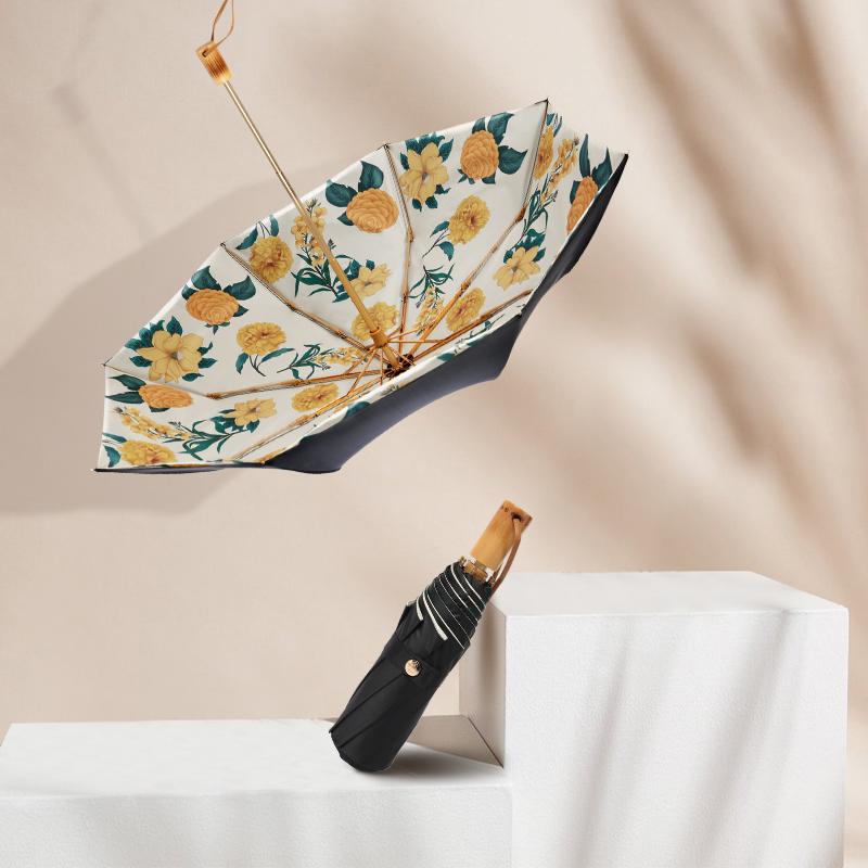 防紫外線折疊耐用雨傘 upf50 德國太陽傘女晴雨兩用黑膠防曬雙層