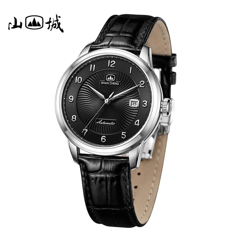 新品山城手表男表时尚简约日历钢带国产手表男士手表自动机械表