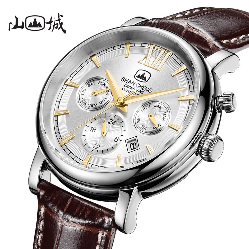 山城多功能手表复古自动机械表日历星期月历防水男士品牌国产腕表