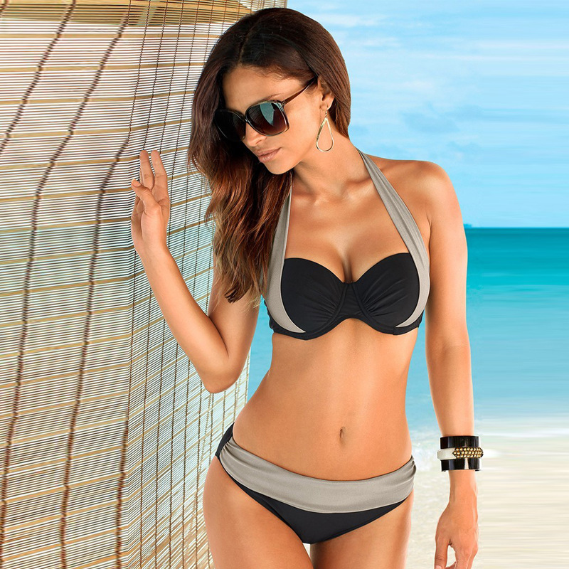 Women Double Colored Padded Halter Bikini Bra Set Swimsuit
