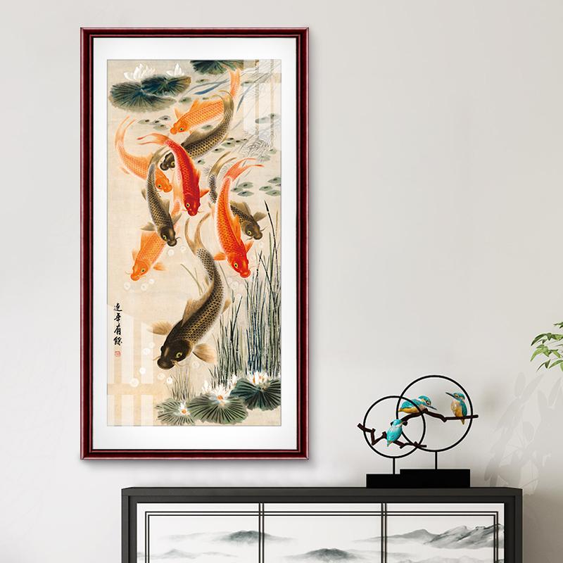 九魚圖風水招財國畫玄關裝飾畫豎版客廳過道走廊掛畫新中式墻壁畫