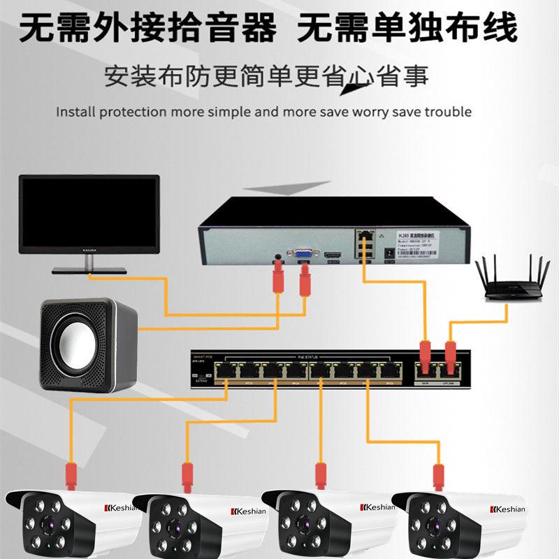 成套监控摄像头设备监控器高清套装家用室外夜视 poe 超市工厂 H.265