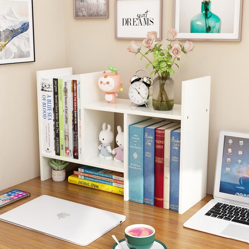 简易伸缩桌面书架书桌上学生儿童多层收纳小型整理办公室置物架子