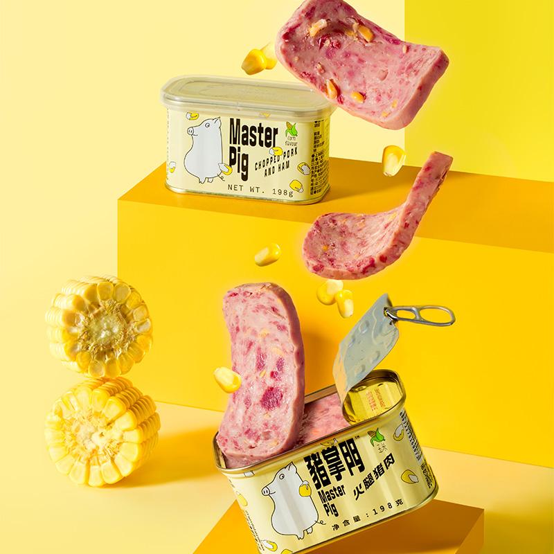 【玉米午餐肉】猪掌门玉米罐头198g*3罐 熟食即食火锅火腿午餐肉