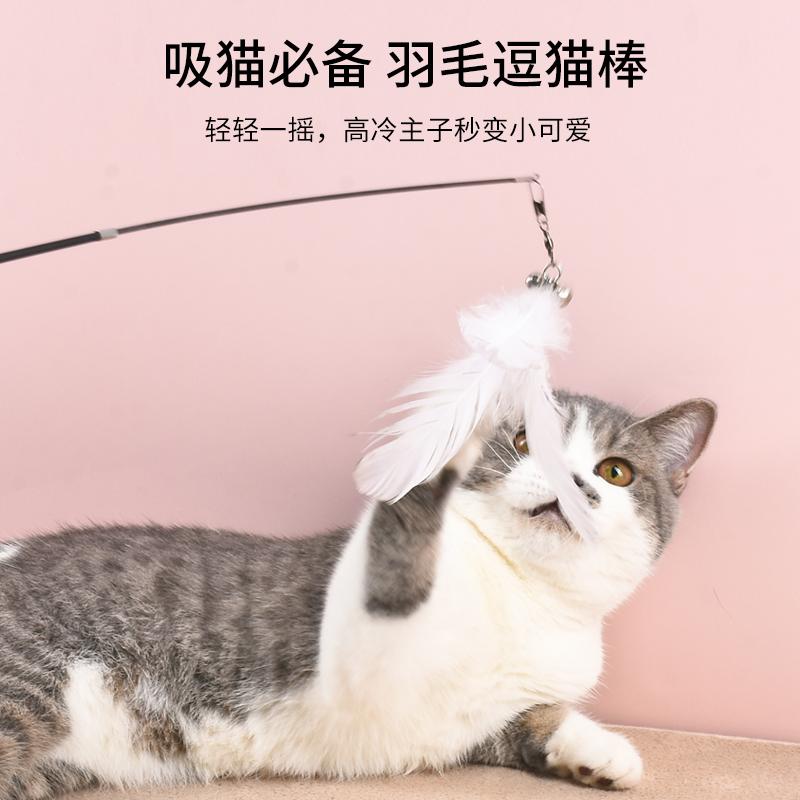 逗猫棒羽毛铃铛长杆可伸缩钓鱼