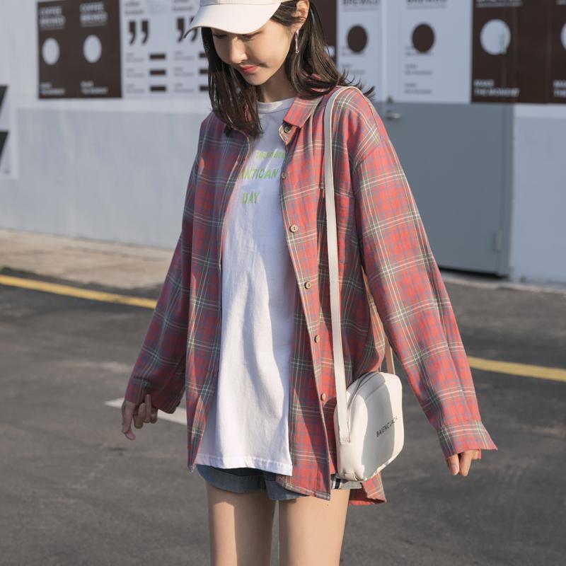 2020春秋女士格子衬衫韩版长袖衬衣设计感小众复古港味上衣女BF
