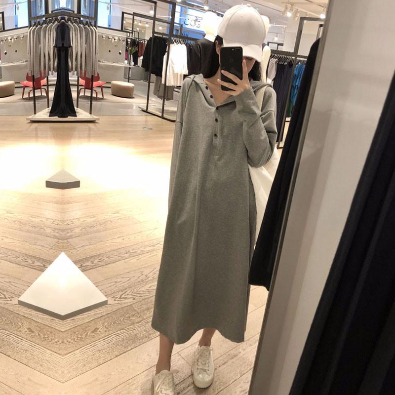 连帽薄款卫衣裙女士春秋2021新款宽松显瘦长款过膝孕妇连衣裙长裙