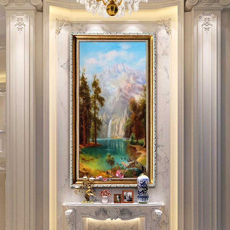 绮年华真手绘油画定制欧式美式客厅玄关挂画鹿聚宝盆画壁画装饰画