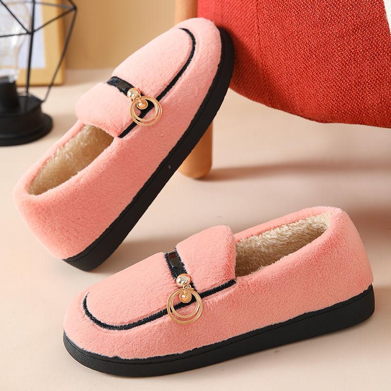 豆豆鞋冬季加绒女网红新款棉鞋韩版平底百搭妈妈鞋外穿厚底月子鞋