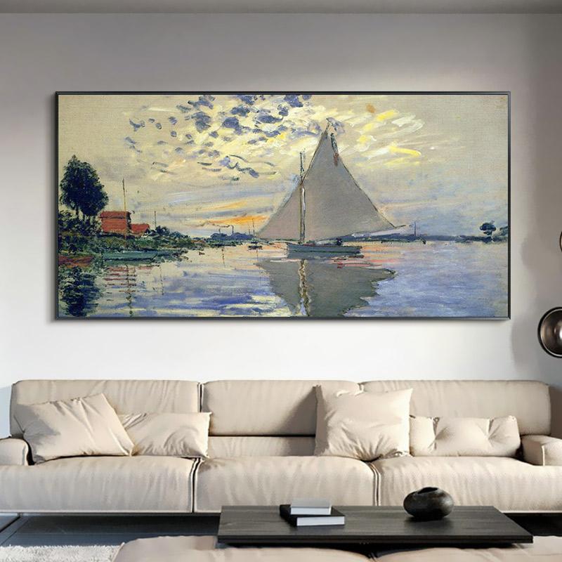 莫奈手绘风景油画客厅装饰画维特尼的夏天世界名画别墅横版壁挂画