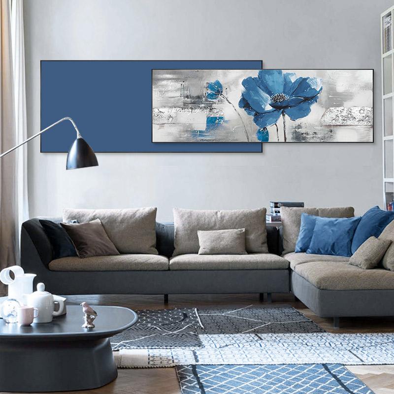 橫版花卉油畫手繪雙聯沙發背景墻裝飾畫現代簡約臥室床頭客廳掛畫