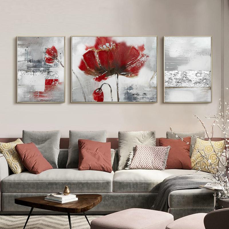 简美花卉纯手绘油画客厅沙发背景墙装饰画走廊过道三联画书房壁画