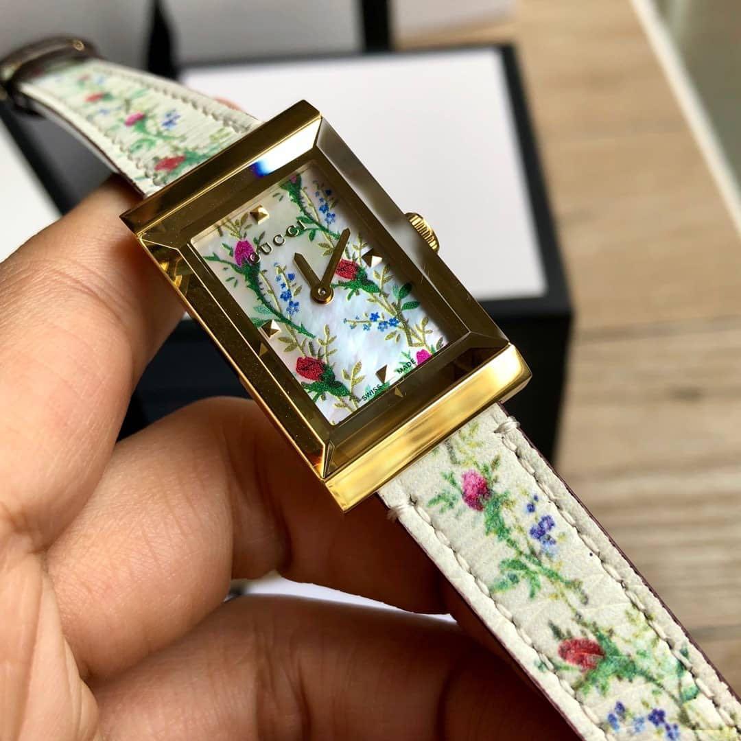 GUCCI 古驰官网同款正品手表女皮带方形石英时尚YA147407