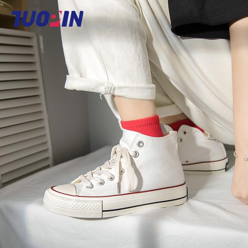 中国鮀品高帮帆布鞋女ulzzang新款潮学生2021百搭春季ins小白板鞋