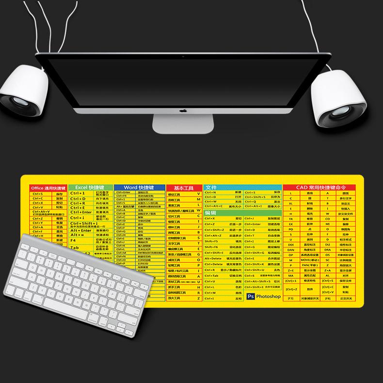 抖音同款超大号鼠标垫游戏电竞加厚锁边电脑书桌垫键盘快捷键创意