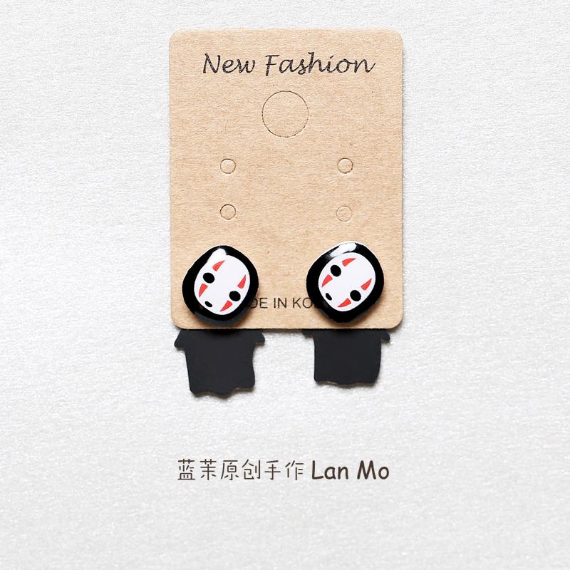 宫崎骏无脸男创意卡通耳钉分体式个姓趣味可爱吸铁石耳夹窄创手作